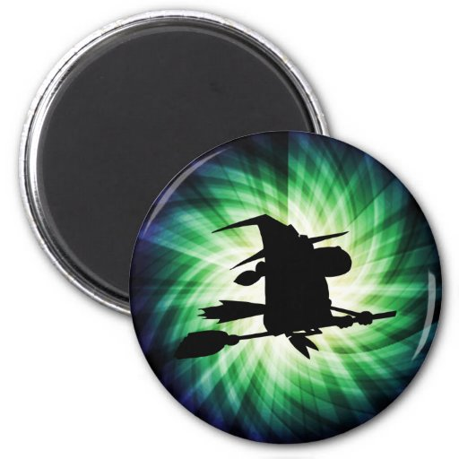 Halloween Witch Silhouette; Cool 2 Inch Round Magnet