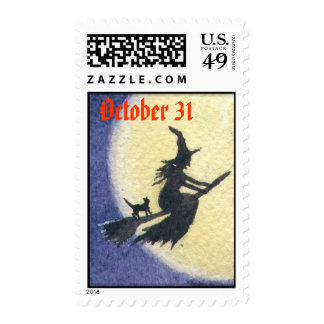 Halloween Witch Silhouette First Class Stamp
