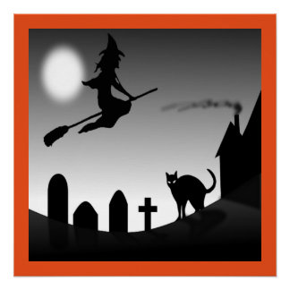 HALLOWEEN WITCH SILHOUETTE POSTER
