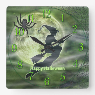 Halloween Witch Silhouette with Spider Square Wall Clock