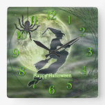 Halloween Witch Silhouette with Spider Square Wallclock