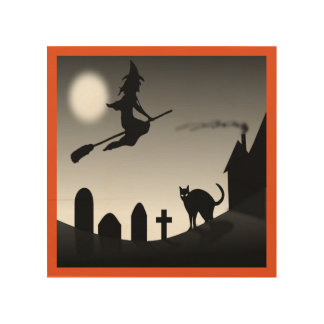 HALLOWEEN WITCH SILHOUETTE WOOD WALL ART