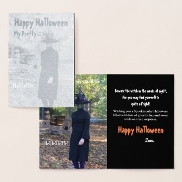Halloween Themed Halloween Witch Silver Foil Greeting Card