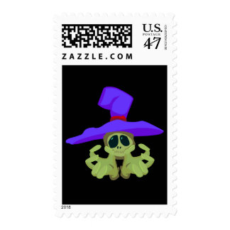 Halloween Witch Skull Postage Stamp