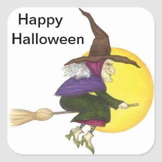Halloween Witch Square Sticker