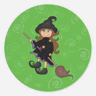 Halloween witch round sticker
