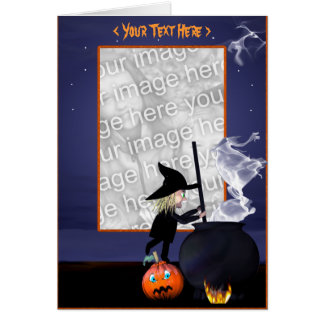 Halloween Witch Stirring Cauldron (photo frame) Card