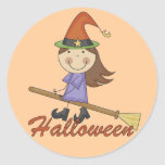 Halloween Witch T-shirts and Gifts Round Stickers