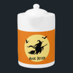 "Halloween witch teapot<br><div class=""desc"">Halloween themed design with witch flying riding on a broom along with bats. The full moon is visible on the background. You can easily change the color of this teapot using the &quot;customize it&quot; button. Also you can put your own text on it using the template. It is a perfect...</div>"