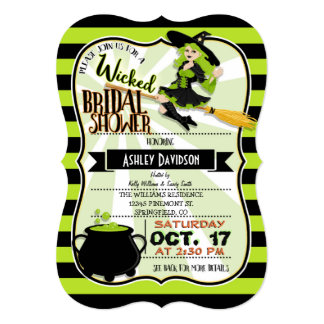 Halloween Witch Theme Bridal Shower Card