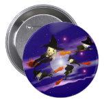 Halloween Witch Traffic 3 Inch Round Button