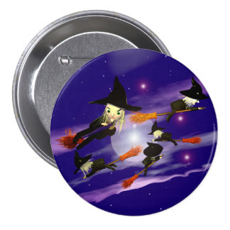 Halloween Witch Traffic Pinback Button