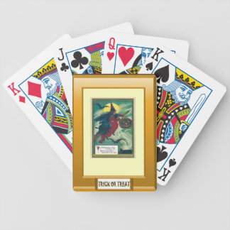 Halloween witch, trick or treat bicycle playing cards