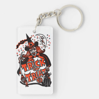 Halloween Witch Trick or Treat Double-Sided Rectangular Acrylic Keychain
