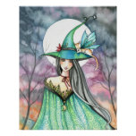Halloween Witch Winged Cat Poster
