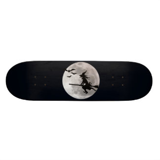 Halloween witch with a cat flies on the sky skateboard deck