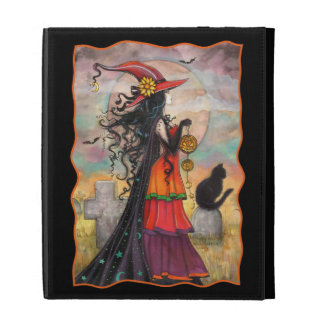 Halloween Witch with Black Cat Fantasy Gothic Art iPad Cases