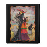 Halloween Witch with Black Cat Fantasy Gothic Art iPad Folio Case
