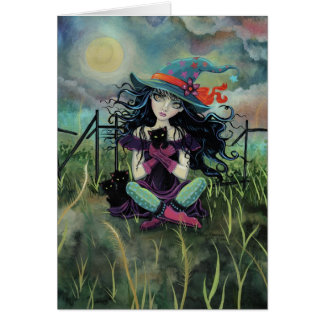 Halloween Witch with Black Cats Fantasy Art Card