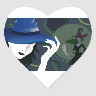 Halloween Witch With Broomstick Under a Full Moon Heart Sticker