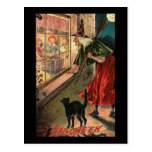 Halloween Witch with Cat Postcard