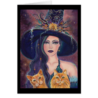 Halloween witch with cats greeting card by Renee