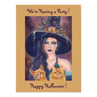 Halloween witch with cats party invitations Renee