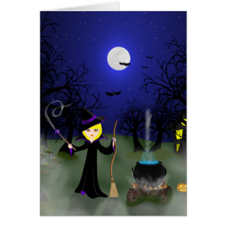 Halloween Witch with Cauldron Card