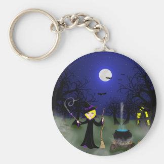 Halloween Witch with Cauldron Keychain