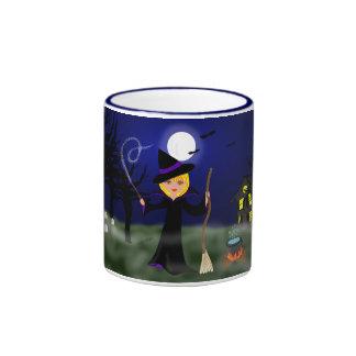 Halloween Witch with Cauldron Ringer Coffee Mug