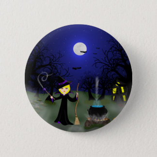 Halloween Witch with Cauldron Pinback Button
