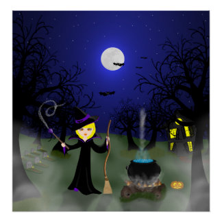 Halloween Witch with Cauldron Poster