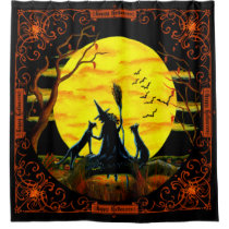 Halloween witch with familiars shower curtain