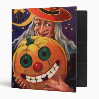 Halloween Witch with Funny Pumpkin 3 Ring Binder