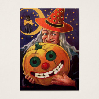 Halloween Witch with Funny Pumpkin Business Card