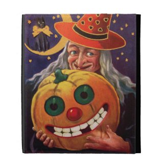Halloween Witch with Funny Pumpkin Ipad Folio Cover