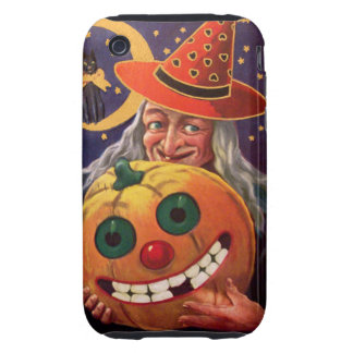 Halloween Witch with Funny Pumpkin iPhone 3 Tough Case