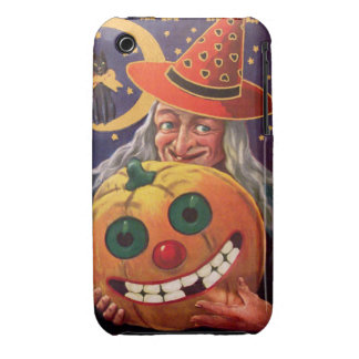 Halloween Witch with Funny Pumpkin iPhone 3 Cover