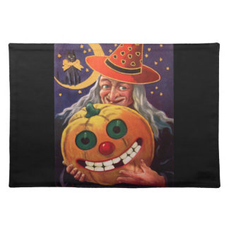 Halloween Witch with Funny Pumpkin Cloth Placemat