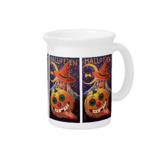 Halloween Witch with Funny Pumpkin Drink Pitcher