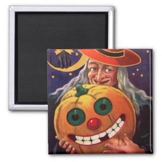 Halloween Witch with Funny Pumpkin