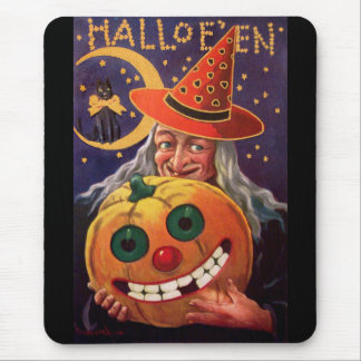 Halloween Witch with Funny Pumpkin Mouse Pad