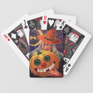 Halloween Witch with Funny Pumpkin Bicycle Card Decks