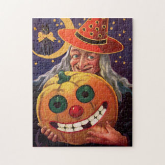 Halloween Witch with Funny Pumpkin Puzzle