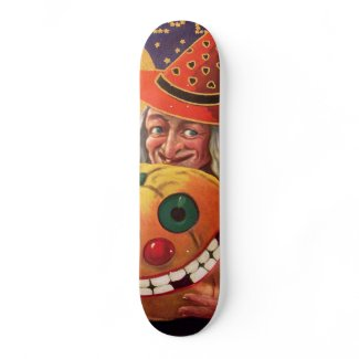 Halloween Witch with Funny Pumpkin Custom Skateboard