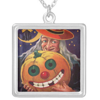Halloween Witch with Funny Pumpkin Square Pendant Necklace