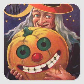 Halloween Witch with Funny Pumpkin Square Sticker