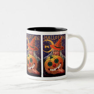 Halloween Witch with Funny Pumpkin Two-Tone Coffee Mug