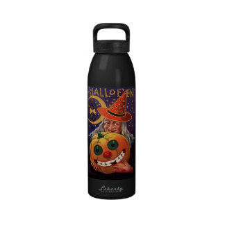 Halloween Witch with Funny Pumpkin Reusable Water Bottle
