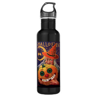 Halloween Witch with Funny Pumpkin Water Bottle